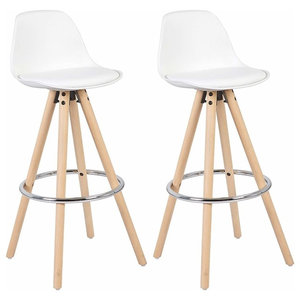 Set of 2 Bar Stools, Synthetic Leather, Wooden Legs and Steel Footrest, White