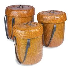Baskets JERUK, Set of 3, with lid & handles, orange