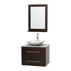 "Centra 30"" Espresso Single Vanity, White Carrera Marble Top, Carrera Marble Sink"