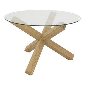 Panama Light Oak Round Glass Top Table