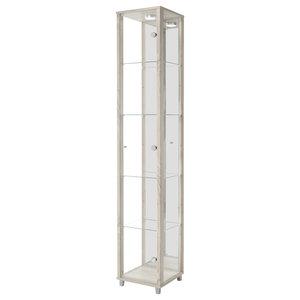 Vitrine Display Cabinet With LED, 1 Door, 4 Shelves, Oak