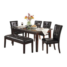 6-Piece Davall Dining Set Marble Top Table 4 Chair Bench Espresso
