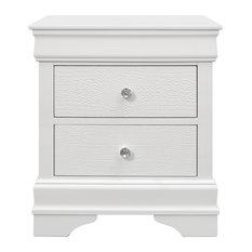 Global Furniture USA Pompei Metallic White Nightstand