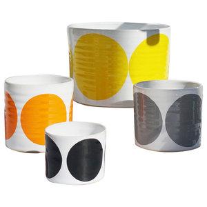 Spots Decorative Jars, Orange Mix, Set of 4