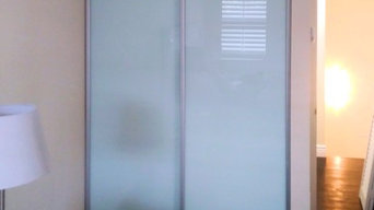 Interior sliding door for closet, frosted glass