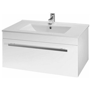 Wall Mounted Vanity Unit, White Ceramic and MDF, Pull Down Front Section