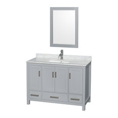 "Sheffield 48"" Single Vanity, Gray, Carrera Marble Top, Undermount Square Sink"