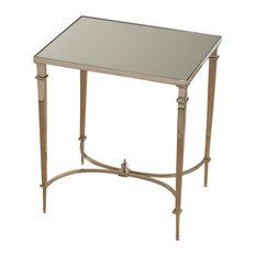 Global Views   Global Views Rectangular French Square Leg Table, Nickel And  Mirror   Side