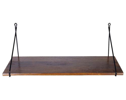 Hylla Med Hängare I Järn, 24x70cm, Svart - Display & væghylder