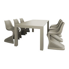 Compamia Bloom Extendable Patio Dining 7-Piece Set, Dove Gray