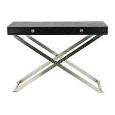 Black Ostrich Leather Console Table