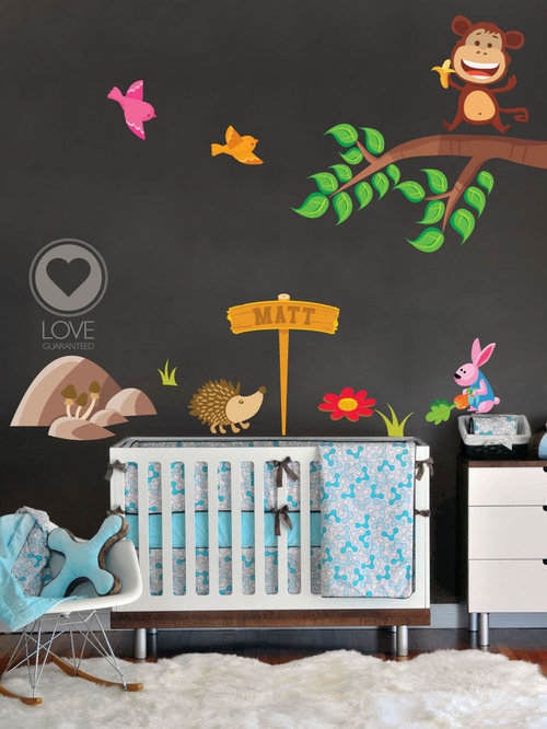 Nursery wall decal jungle animals fabric decal tree for Nursery monkey fabric