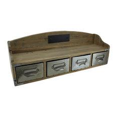 Wooden Retro Wall Shelf Organizer w/4 Drawers