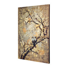 Birds On Branch, Hand Embellished, Stretched Canvas Wall Art