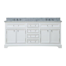 "Derby 72"" Solid White Double Sink Bathroom Vanity"