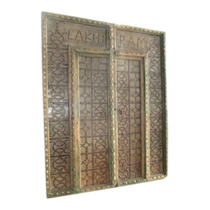 Mogul Interior - Antique Doors lakhi ram Gates Main Entrance Solid Wood Double Door Panels - Interior Doors