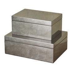Luxe Gunmetal Silver Decorative Box Set 2, Metallic Trinket Simple Midcentury