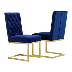 Cameron Velvet Dining Chair, Set of 2, Navy