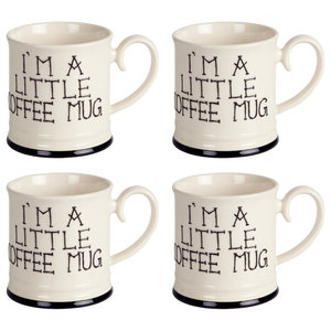 Fairmont and Main I'm a Little Tankard Mugs, Set of 4, Coffee