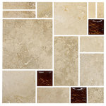 "Backsplash - Travertine Brown Glass Mosaic Kitchen Backsplash Tile, 12""x12"" - Travertine stone mixed with 2""x2"" brown glass tiles. Brown glass tile change color depends on light source.  This is a unique design travertine backsplash tile for all kitchen remodeling project."