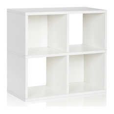 2-Tier 4 Cubby Stackable Bookcase Storage Shelf, Tool Free Eco zBoard, White