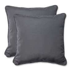 "18.5"" Throw Pillow With Sunbrella Fabric, Set of 2, Charcoal"