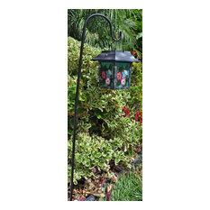 Solar Lantern Garden Stake, 9x6x30, Green Hummingbird/Pink Flowers