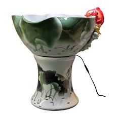 Oriental White Green Lotus Porcelain Fish Theme Floor Fountain Display cs2281