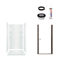 Sterling  Ensemble 75.7x34x36 Alcove Shower Kit, Clear Glass, Bronze by Sterling