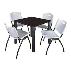 Kee 30 Square Breakroom Table- Mocha Walnut/ Black & 4 'M' Stack Chairs- Grey