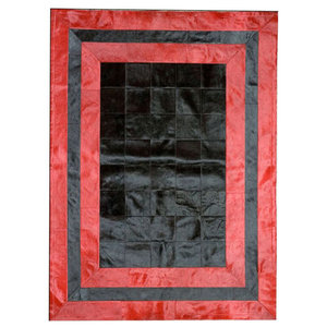 Patchwork Leather Cubed Cowhide SR2 Rug, Black and Red, 200x300 cm