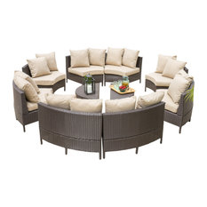 GDF Studio Newton Outdoor 8 Seater Wicker Sectional Sofa Set with Coffee Tables