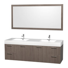"Amare 72"" Gray Oak DBL Vanity, Acrylic-Resin Top, Integrated Sinks, 70"" Mirror"