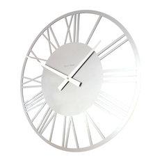 Roco Verre Acrylic Gloss Skeleton Roman Wall Clock, Silver