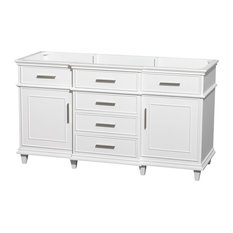 "Berkeley 60"" Double Bathroom Vanity, White with No Top, No Sinks, No Mirror"