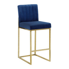 Giselle Velvet Counter Stool, Navy, Gold Base