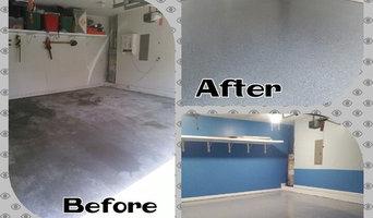 Jeremy's Garage Epoxy floor, Walls & Trim Painted