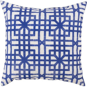 "Lattice Marine Outdoor Pillow, Iris, Light Gray, Polyester Filler, 26""x26"""