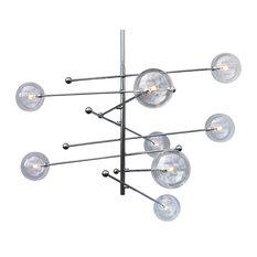"""Miranda 8-Light Mobile Glass Globe Satellite Chandelier, 47"""""""