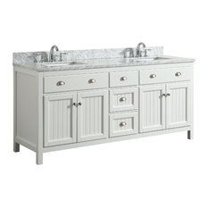 Appleby White Bathroom Vanity With Marble Top, 72''