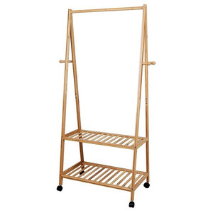 Modern Clothes Rack, Bamboo Wood With Hanging Rail, Wheels and 4 Hanger Hooks