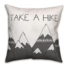 """Gray Mountains Take a Hike 18""""x18"""" Outdoor Throw Pillow"""