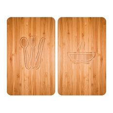 Wood Grain Glass Hob Covers, Set of 2