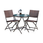 3-Piece Cantinela Outdoor Wicker Folding Bistro Set