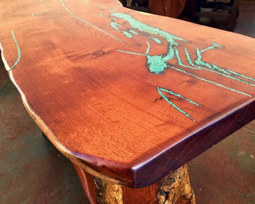 Mesquite Wood Sofa Table With Turquoise Inlay
