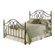 Leggett & Platt - Dynasty Bed With Arched Metal Panels and Scalloped Finial Posts, Queen - Panel Beds