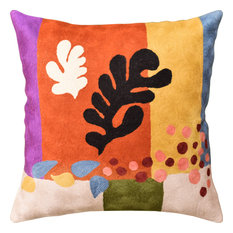 Matisse Coral Pillow Cover Cut-Outs III Flower Wool Hand Embroidered 18x18""