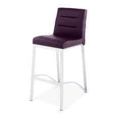 Lynx Counter Height Contemporary Bar Stool with Metal Base - Purple