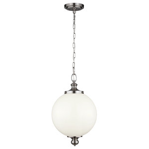 Parkman Period-Inspired Pendant, Brushed Steel, Large