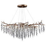 Vaxcel - Rainier 6L Silver Linear Crystal Linear Chandelier Island Pendant Light Fixture - The beauty of nature is uniquely captured in this stunning collection called Rainier. A silver leaf branch-like structure gracefully suspends icicle glass strands with topped crystal beads for a glistening display of light. The elegantly styled ceiling mounted fixtures are a sure way to bring the wow factor to any dining room, living room or entryway.